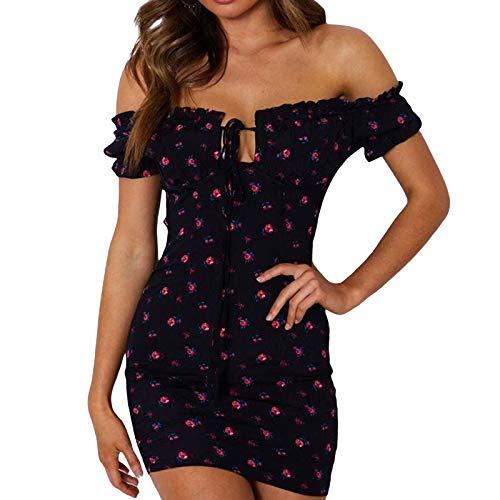 I3CKIZCE Vestido mini mujer de cóctel Discoteca manga corta off-hombro estampado de lunares cordón vestido ajustado vestido de noche sexy vintage elegante Negro S