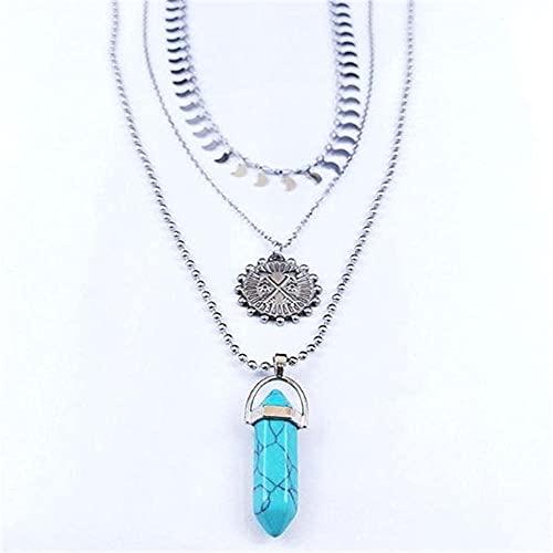 WEIYIing Collana in Acciaio Inox Stone Layted Collana Argento Colore Sole Arco Arrow Collane Catena Round Boho Jewelry Collar