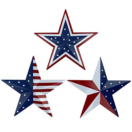 Metal Barn Star Art – Amerikanische Flagge Patriotische 22,9 cm Stern Wanddekoration, Wandhalterung, 3D Scheunenstern-Dekor Juli 4. Dekoration, 3er-Set