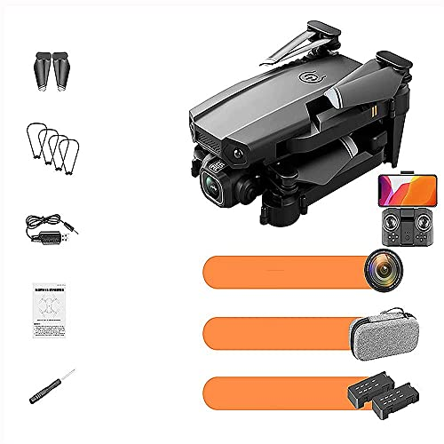 JJDSN Mini Drone telecomandato Nero con videocamera HD 1080P per Adulti, Video in Diretta FPV, Elicottero quadricottero RC Pieghevole, 2 batterie, Avvio con Una Chiave, Mantenimento dell'altitudin