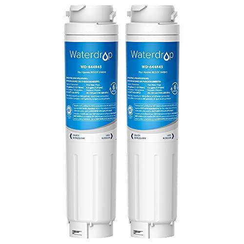 2X Waterdrop 644845 Filtro para Nevera, Compatible con Bosch UltraClarity 644845 REPLFLTR10 00740560 9000194412 9000077104 Neff Gaggenau Miele/Haier 0060820860 0060218743 Rangemaster DXD 90170