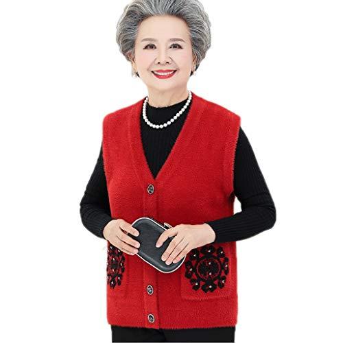 ZANZAN Weste, gepolstert, mit Taschen, für mittleren und älteren Menschen geeignet, Rot