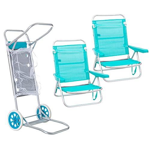 Pack de 2 sillas de Playa Aguamarina de Aluminio y textileno y Carro portasillas Nuevo y Mejorado - LOLAhome
