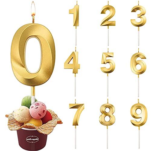Candele di Compleanno Numbero, Candele di Compleanno Oro Glitter, Candele Torta,Adatto A Feste di Compleanno, Feste di Anniversario di Matrimonio, Serate di Laurea (0)