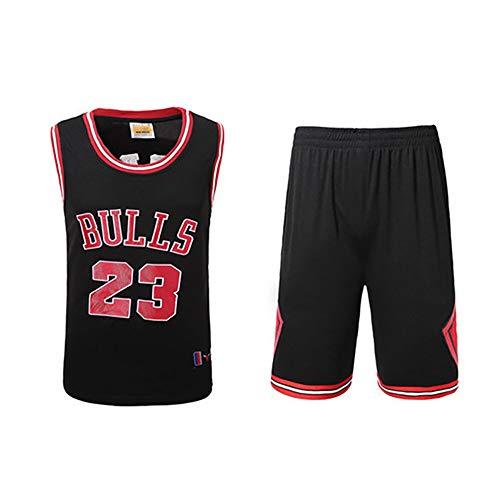 SHPP No. 23, Camiseta de Michael Jordan, Chicago Bulls, Michael Jordan 23#, Camiseta de Baloncesto, Traje Rojo clásico, Unisex - Negro-Black-L