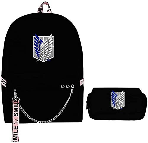 Attaque d'anime sur les sacs à dos imprimés Titan 3D l'école avec étui à crayons pour enfants sacs de l'école sac à bandoulière Bookbag Ordinateur sac canevas sac daypack-Mikasa ackerman_42 *28 *17 cm