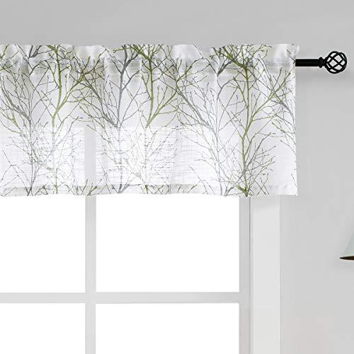 "Fmfunctex White Valance Curtains for Windows Print Tree Branch Semi-Sheer Valance Grey/Green,1 Panel, 50"" Width x 15"" Length"