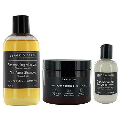 Plantaardige haarverf, mahonie, 200 g Aloë Vera shampoo voor gekleurd haar, 250 ml, voor het ontwarren van ijzer, 100 ml