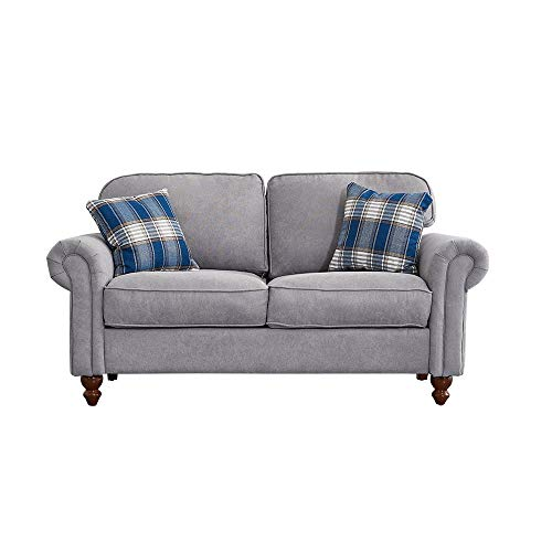 2 Seater/3 Seater Sofa Couch Settee Fabric Sofa Living Room Sofa with Retro Design Leg and 2 Free Cushions (Gray, 2 Seater)