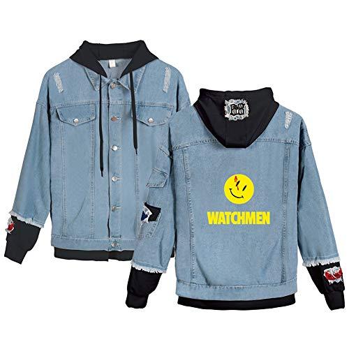 WYDHHLD Halloween Denim Hoodie Jacke Erwachsene Cosplay Jeans Mantel, 3D gedruckt Smiley Graphic Pullover Hoode Sweater Sweatshirts mit großen Taschen für Männer/Frauen,Blue1,L
