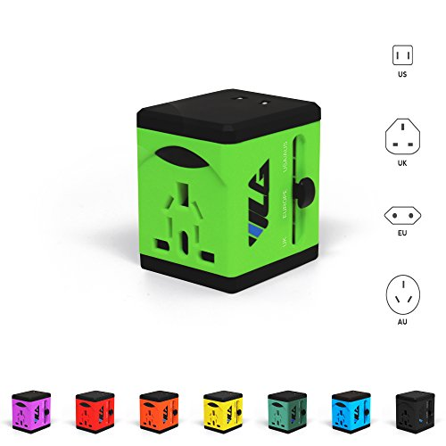 Travel Adapter and Charger - USB Charging Ports - Super Fast Charging - All International Standard Cell Phone/Desktop/Laptop/Touch Screen Tablet/Computer/GPS Chargers - Lime Green