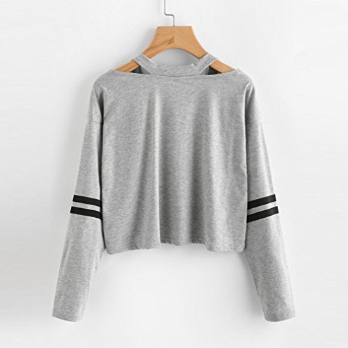 Keepfit Fashion Crop Tops, Striped Sweatshirt Causal Cut Out Shoulder Blouse for Teen Girls (S, Gray)