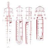CUTOOP 5 unidades acrílico curva francesa moda plantilla regla mujer humanoide patrón de medición reglas ropa medición artesanía herramientas de costura
