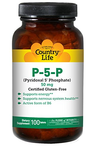 Country Life P-5-P Pyridoxal 5 Phosphate 50mg - Active Form of Vitamin B6 Supports Energy, Nervous System Health & Carbohydrate & Protein Metabolism - Non-GMO, Gluten-Free, Vegan - 100 Tablets