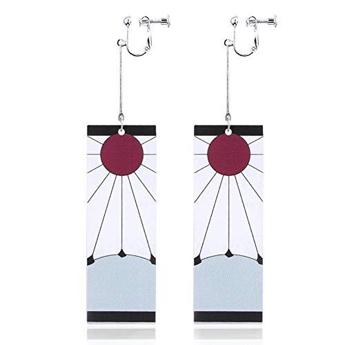 Demon Slayer Tanjiro Earrings Tanjirou Anime Cosplay Earrings Dangle Earrings Halloween Accessories Clip on