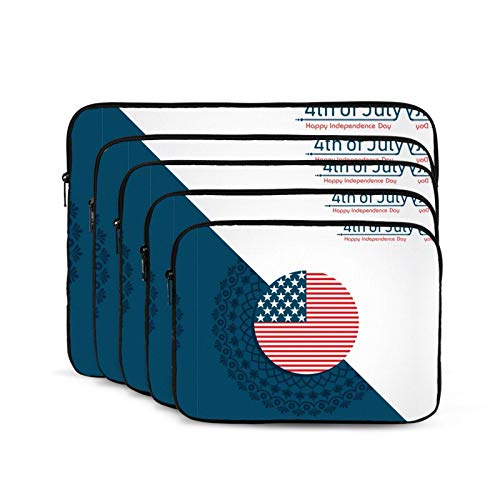 KUUDJIT Happy Independence Day United States 4th July 12/13/15/17 Inch Laptop Sleeve Bag for MacBook Air 13 15 MacBook Pro Portable Zipper Laptop Bag Tablet Bag,Diving Fabric,Waterproof