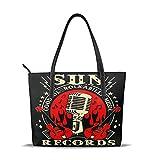 人気の女性バッグ ナノプリントの高級マイクロファイバーレザーレディースハンドバッグ Sun Records Electric Mic Music レジャー、ショッピング、パーティー、学校、仕事、旅行 美しくエレガント