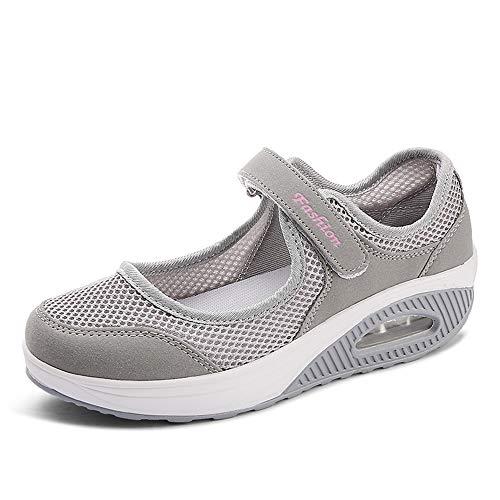 Moda Mujeres Tejida Talla 35-42 Cómodos Zapatos para Caminar Zapatillas De Deporte Zapatos Respirado Ligero Malla Mujeres Deporte Running Zapatillas Sacudir Casual Zapatos Height-Increasing Sneaker