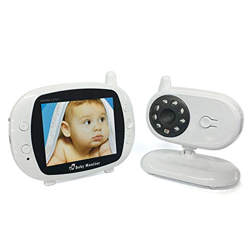 3,5-Inch Écran LCD Haute Définition Sans Fil Numérique Pour Bébé Moniteur De Nuit Vision De La Chambre Berceuse Surveillance De La Température De L'interphone Bi-Directionnel Affichage 420TVL, Résolution 480X234