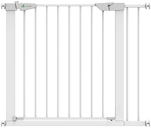 VOUNOT Treppenschutzgitter 76–96cm, ohne Bohren, Türschutzgitter für Kinder, Hunde und Katzen, Auto-Close Treppengitter, Magnetverschluss, 90° Stop, Weiß