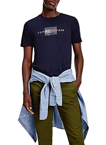 Tommy Hilfiger Lines Hilfiger tee Camiseta, Cielo del Desierto, XXL para Hombre