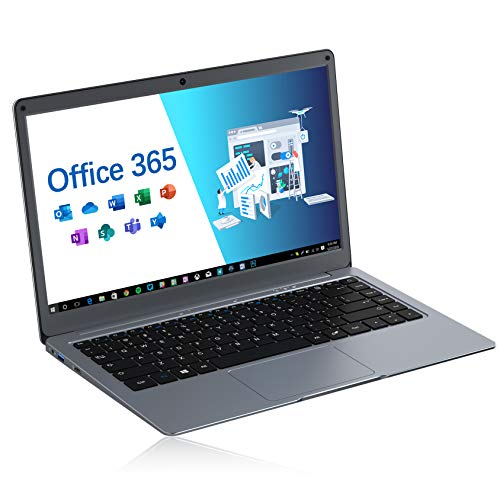 Jumper Laptop 13,3 Zoll mit Microsoft Office 365 FHD Computer PC 4GB RAM 64GB eMMC Intel Celeron CPU, Windows 10, Dualband WLAN, USB 3.0 Unterstützt 256GB TF Karte und 1TB SSD Erweiterung