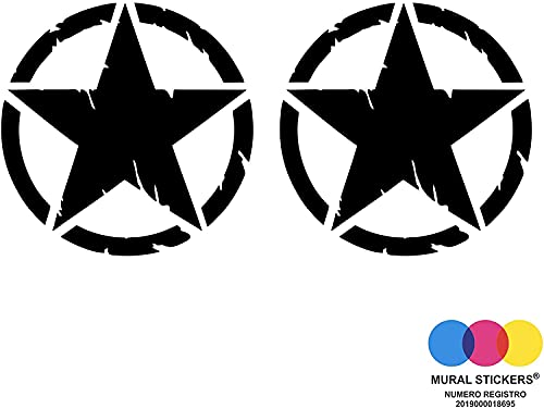 mural stickers Pegatinas 4x4 Off Road Estrella Militar Destrudo US Army – Aplicable en el capó o puerta de tu coche – Paquete de dos unidades – (negro, 10 x 10)