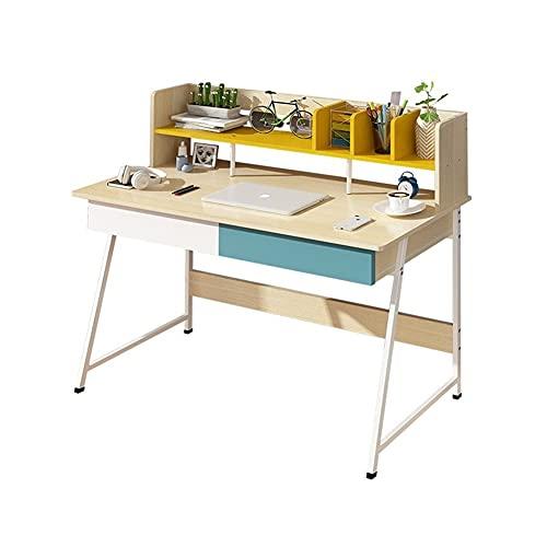 LICHUAN Escritorio de ordenador con 4 estantes de almacenamiento, moderno escritorio de escritorio de computadora con cajones para dormitorio