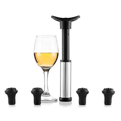 Blumtal Wein Vakuumpumpe mit 4 Stopfen - Weinverschluss für Lange Haltbarkeit, Silber-schwarz