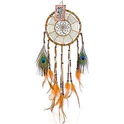 Traumfänger aus Bambus - Traditionelle Indianer Deko - Handmade Premium Dreamcatcher - Durchmesser 18 cm Gross, Braun