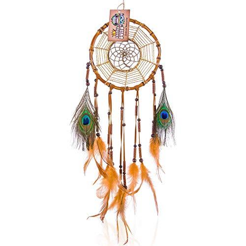 Gran atrapasueños hecho de bambú, Dreamcatcher indio hecho a mano, Calidad superior (diámetro 18 cm, longitud 52 cm, color marrón)
