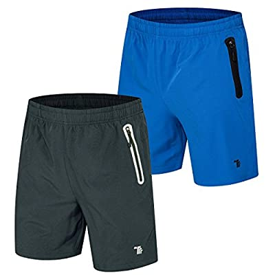 TBMPOY Men's 2 Pack Outdoor Casual Reflective Athletic Hiking Shorts(05,Dark Grey+Color Blue,us L)