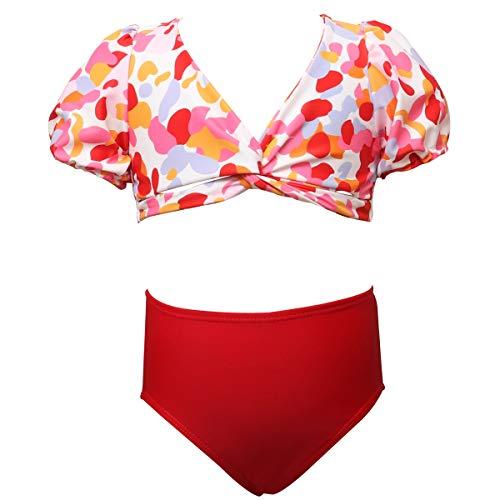 BRICUTESK Kids Girls Bikini Set High Waisted Swimsuit Leopard Print Baithing Suit Matching Swimwear 2 Pieces