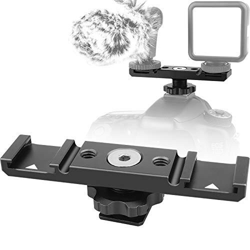 ChromLives Kamera Dual Kalte Schuhhalterung Halterung Dual Blitzschuh-Verlängerungsstange, Cold Shoe Mount Plate Adapter, Aluminium Dual Shoe Extension...
