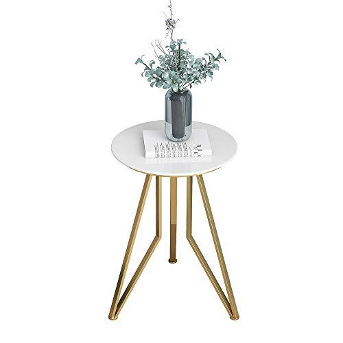 Axdwfd bijzettafel wit marmer bank tafel Bistro tafel, ideaal voor terras, tuin of binnen, metalen frame, 38 X 55cm