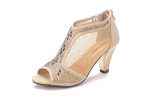 Ashley A Collection Women's Lexie Crystal Dress Heels Low Heels Wedding Shoes A-KIMI-26 Gold 6.5