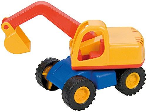 Lena 01229 Mini Compact graafmachine, bouwplaatsvoertuig, ca. 12 cm lang, klein speelvoertuig schop bagger voor kinderen vanaf 2 jaar, robuust graafvoertuig voor zandbak, strand en kinderkamer.