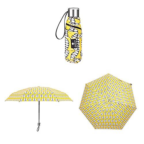 PINPINGMY Paraguas Pequeño Anti-UV Moda Mini Paraguas Lluvia Lluvia Mujer Regalo Plegable Pocket Parasol Girls Impermeable Portátil Viajes Paraguas (Color : Yellow)