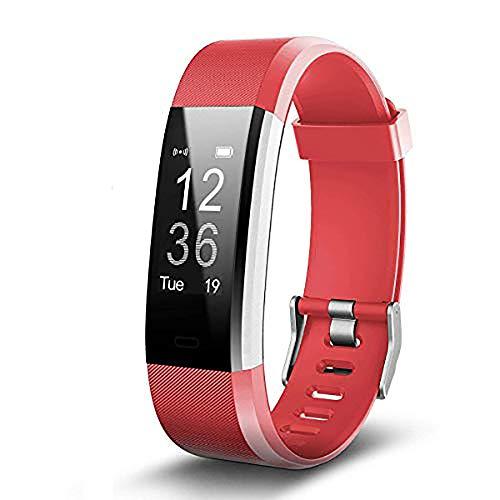 Mettime Brazalete de Fitness con pulsómetro, podómetro Reloj Pulso Reloj Fitness Trackers Resistente al Agua IP67podómetro, Rojo