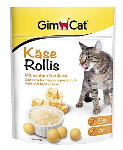 GimCat Rollis, comprimidos de queso - Snack para gatos rico en vitaminas sin cereales con auténtico queso duro - Pack de 6 unidades (6 x 140 g)