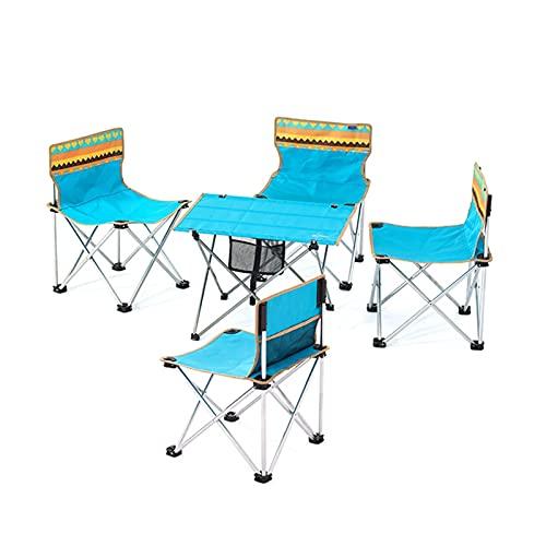 Tisch- und Stuhlset im Freien 5-teiliges tragbares Klapptisch- und Stuhlset, geeignet für Parkpicknicks, Camping- und Selbstfahrertouren (Size : Small)