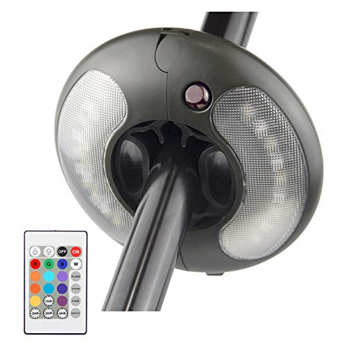 BIGMONAT - Luz para sombrilla de patio con anillo colgante, funciona con pilas AA con mando a distancia, 12 colores, luz de tienda de campaña, brillo regulable y ajuste de temporizador, 120 lúmenes