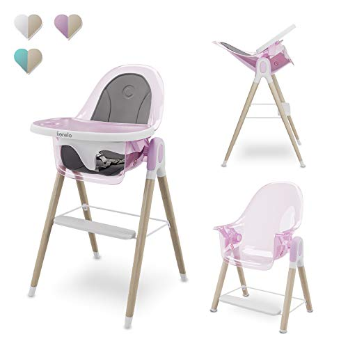 Lionelo Maya trona bebé silla para los niños mayores hasta 25 kg respaldo reclinable en 3-posiciones bandeja ajustable reposapiés cinturón de 3-puntos (Rosado)