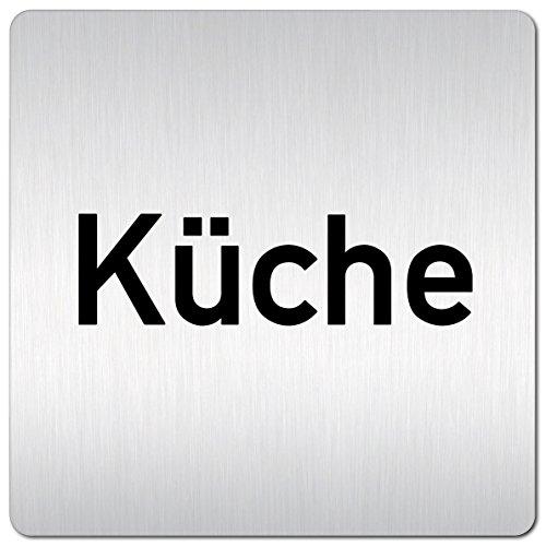 Kinekt3d Leitsysteme XXL Schild - Türschild • 125 x 125 mm • Küche • 1,5 mm Aluminium Vollmaterial • 100% Made in Germany