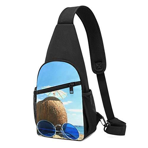 Risating Schultertasche, Kokosnuss-Saft-Sonnenbrille, Kuriertasche, kleine Brusttasche für Outdoor-Sportarten – mehrere Aufbewahrungszwecke