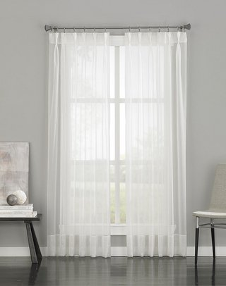 "Curtainworks Soho Voile Sheer Pinch Pleat Curtain Panel, 29 by 84"", Oyster"