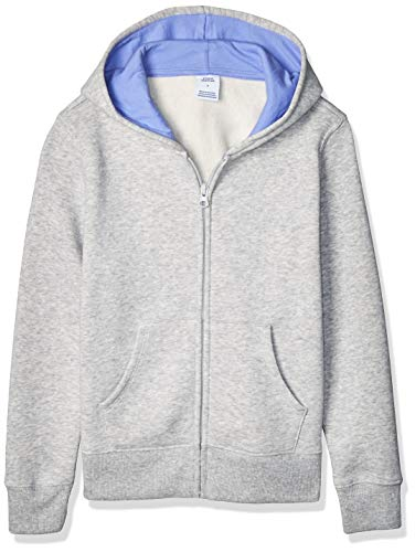 Amazon Essentials Girl's Fleece Zip-up Hoodie, Light Grey Heather S (6-7)