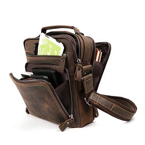 Genuine Leather Small Messenger Bag for Men Vintage Shoulder Crossbody Bags for Work Business Travel