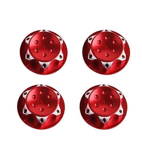 STOBOK 4 stücke 17mm radnabenabdeckung 1/8 rc Auto Anti-staubschutz 17mm radmitte Kappen (rot)