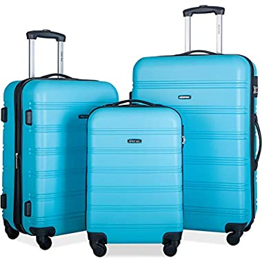 Merax Mellowdy 3 Piece Set Spinner Luggage Expandable Travel Suitcase 20 24 28 inch (Sky Blue)